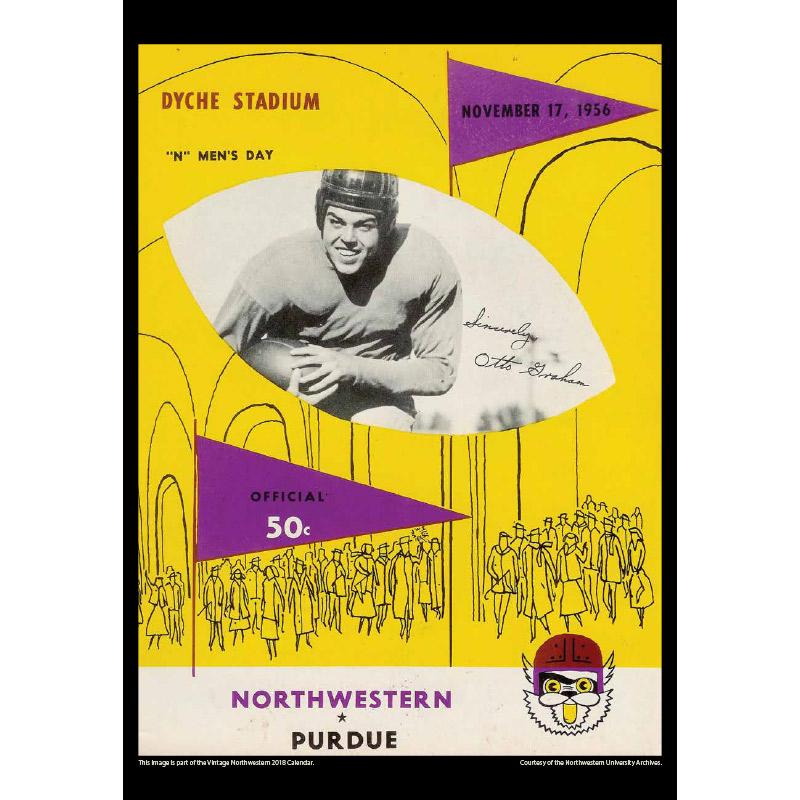 2018 Vintage Northwestern Wildcats Football Calendar August