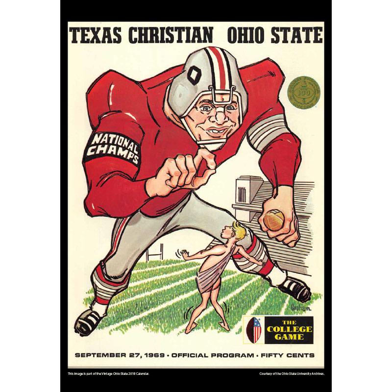 2018 Vintage Ohio State Buckeyes Football Calendar August