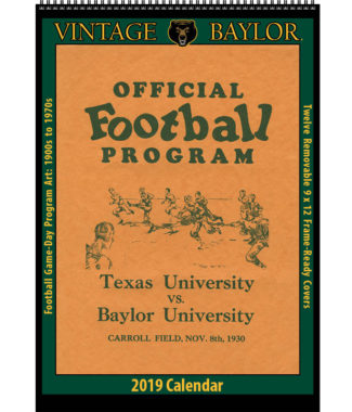 2019 Vintage Baylor Bears Football Calendar