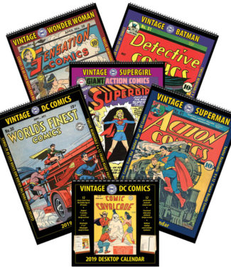 2019 Vintage DC Comics Wall Calendars/Desktop Calendar Combo Set