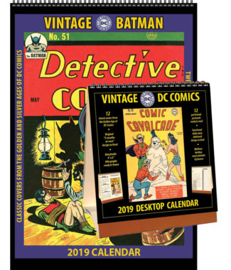 2019 Vintage Batman Calendar & Vintage DC Comics Desktop Calendar Combo Set