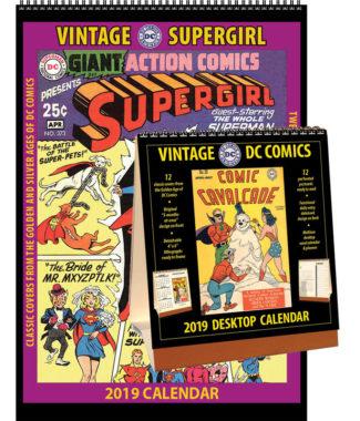 2019 Vintage Supergirl Calendar & Vintage DC Comics Desktop Calendar Combo Set