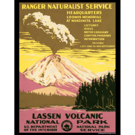 Vintage America - Lassen Volcanic National Park 11x14 Poster Print