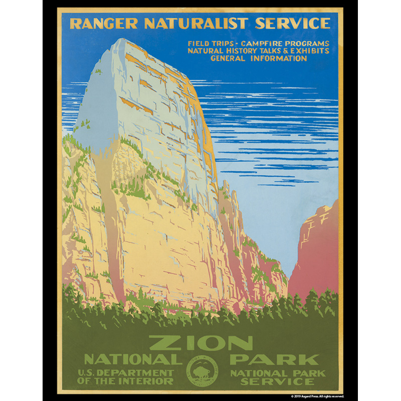 Vintage America - Zion National Park 11x14 Poster Print