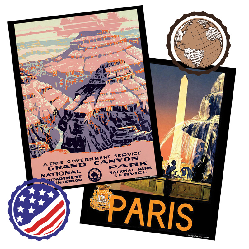 Vintage America/Travel Poster Prints, Create Your Own Set of 3 or More
