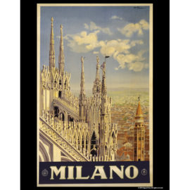 Vintage Travel - Milano Travel Poster 11x14 Print