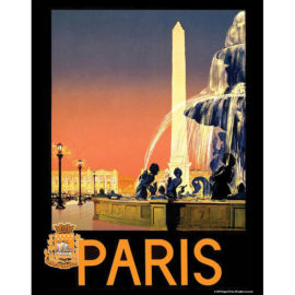 Vintage Travel - Paris Travel Poster 11x14 print