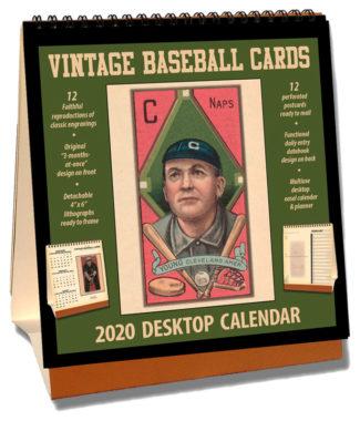 2020 Vintage Baseball Cards Desktop Calendar