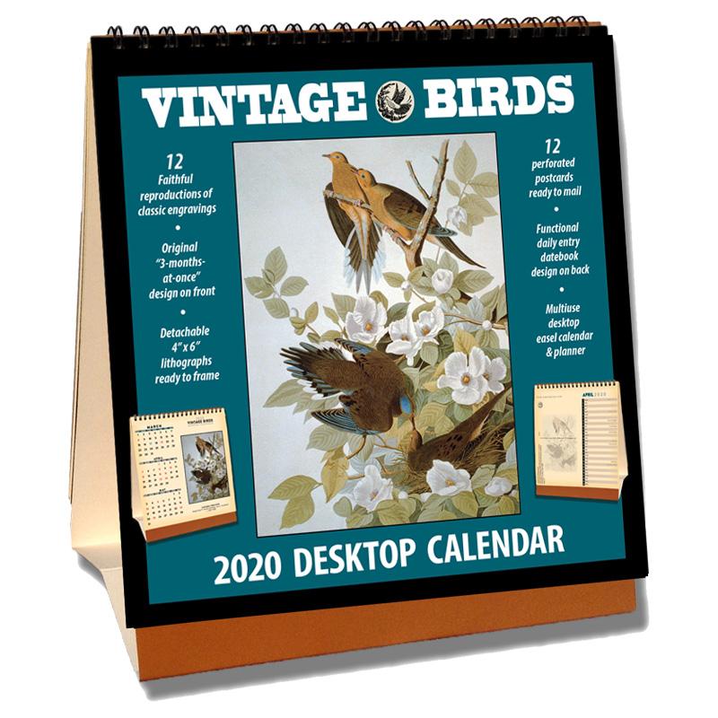 2020 Vintage Birds Desktop Calendar