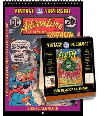 2020 Vintage Supergirl Calendar & 2020 Vintage DC Comics Desktop Calendar