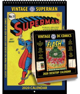 2020 Vintage Superman Calendar & 2020 DC Comics Desktop Calendar