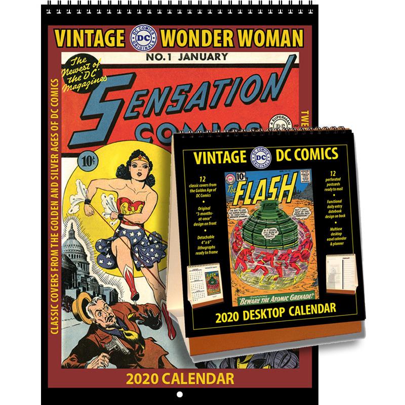 2020 Vintage Wonder Woman Calendar & 2020 DC Comics Desktop Calendar Combo Set
