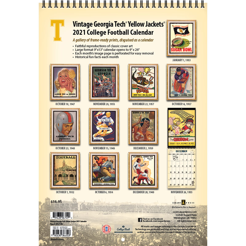 2021 Vintage Georgia Tech Yellow Jackets Football Calendar