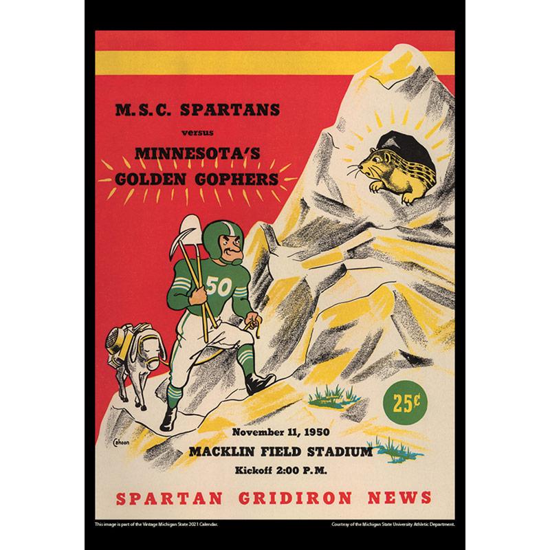 2021 Vintage Michigan State Spartans Football Calendar
