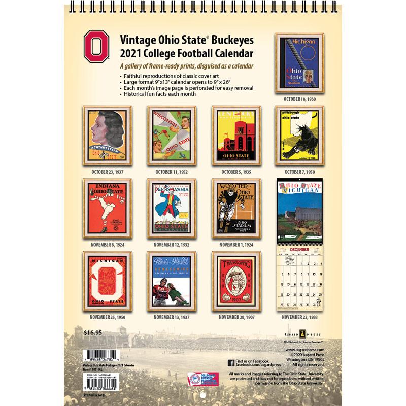 2021 Vintage Ohio State Buckeyes Football Calendar