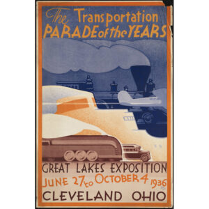 Great Lakes train travel poster