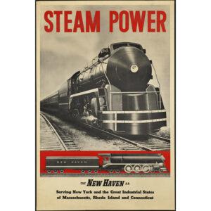 Steam Power train travel poster
