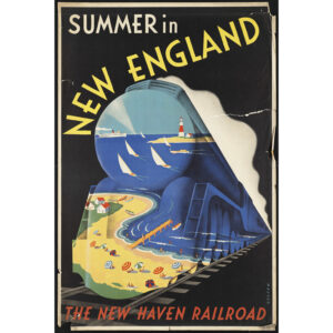 Summer in New England train travel poster